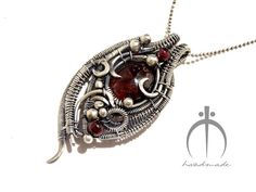 Sterling Silver Garnet Pendant  Gothic Necklace by MayaHandmade