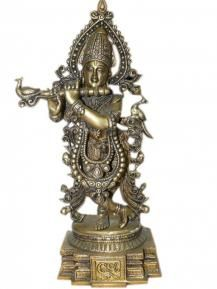 Lord Krishna Statue Hindu God Religious Brass Sculpture Arts Asian $299.00