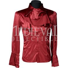 Gothic Mens Red Satin Ruffle Shirt - DR-1220 by Medieval Collectibles