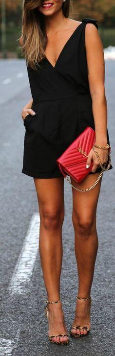 Great outfit! - Black romper, subtle leopard sandals, and a fabulous YSL bag