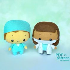 Doctor and nurse felt toy sewing PDF patterns Coraline, Etsy Handmade, Handmade Gifts, Biscuit, Doll Eyes, Book Quilt, All Toys, Sewing Toys, Felt Dolls