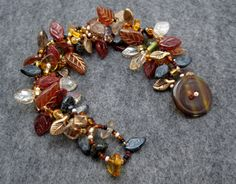 Beaded Bracelet  The Leaf Series  Leaves Modern by randomcreative, $35.00