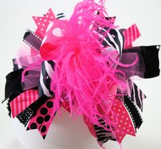 Over the top zebra and punk hairbow! Love it! So sassy!