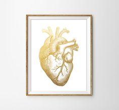Anatomical Faux Gold Heart Print. Medical Art. Minimalist Decor. Office Art. Heart Anatomy. Human Heart. Scientific print. on Etsy, $10.00