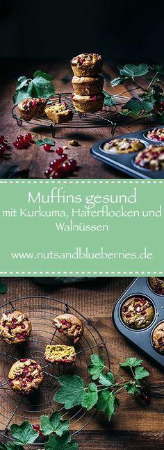 Muffins Rezept einfach und schnell. Ein gesundes Muffin Rezept mit Kurkuma, Haferflocken und Walnüssen. Mit Johannisbeeren oder Blaubeeren.   Das Rezept gibt es auf www.nutsandblueberries.de    Kurkuma Muffins  #muffins  #muffinrezept  Muffin Rezept   Muffins mit Haferflocken   Saftige Muffins   Muffins saftig  Food Fotografie Superfood, Italian Recipes, Germany, Snacks, Table Decorations, Orange, Turmeric Recipes, Sugar Free Recipes, Healthy Muffin Recipes