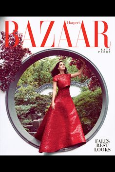 Katy Perry makes quite an entrance in a show-stopping #GiorgioArmani Privé dress on the October 2014 cover of Harper's Bazaar US by Camilla Åkrans