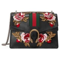 Women's Gucci Medium Dionysus Embroidered Roses Leather Shoulder Bag ($4,200) ❤ liked on Polyvore featuring bags, handbags, shoulder bags, leather shopping bag, genuine leather handbags, gucci purse, leather handbags and shoulder bag purse