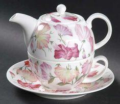 Roy Kirkham Sweet Pea Tea for One (Stacking Teapot w/Cup & Saucer) Tea For One, My Tea, Tea Cup Saucer, Tea Cups, Teapots And Cups, Coffee Set, Tea Time, Chocolate Pots, Shabby