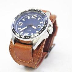 hodinkový pásek Celokožený hodinkový pásek na míru. (dle rozměrů Vašeho ciferníku) Další odstíny je možné volit z aktuálního vzorníku kůží... Best Dad, Omega Watch, Watches, Leather, Accessories, Design, Fashion, Moda, Wristwatches