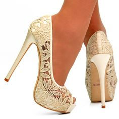 Beige flower lace stiletto high heel peep toe wedding occasion shoes