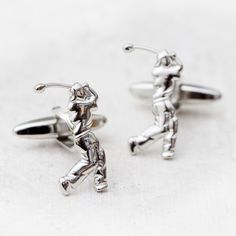 Swinging golfer silver plated cufflinks