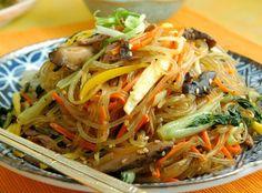 japchae: stir-fried noodles with veggies...