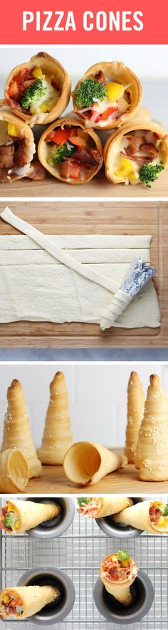 These delicious pizza cones are a perfect party treat. Make the cones with crescent roll dough, tin foil, cooking spray, and sugar cones. Then, set them out with your favorite pizza toppings, from cheese and pepperoni to broccoli and pineapple, and let your guests DIY their dinner! Get the recipe here!