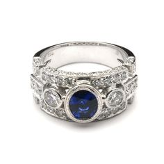rings | Wide Intricate Bezel Sapphire and Diamond Ring ~ Our Ring Selection ...