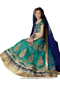 Girl's - Medium Sea Green Heavy Work - Lehenga / Half Saree - Gilr's Party And Wedding Collection Lehenga Set For Special Occasions - Semi Stitched, Blouse - Ready to Stitch New Lehenga Choli, Lehenga Choli Wedding, Kids Lehenga, Sari, Teal Blue Color, Pakistani Outfits, Pakistani Clothing, Wedding With Kids, Indian Bollywood