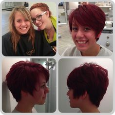 Before and After, Red Hair, Bright Hair, Long Pixie cut, Short Hair, Long to Short Hair, The Change Organic Hair Salon www.thechangehairsalon.com
