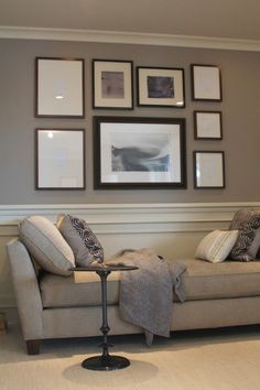 Chair rail, crown molding and 2 colors wall paint. Warms up large walls in family room. Master Bedroom Design, Home Bedroom, Bedroom Wall, Bedroom Decor, Bedroom Ideas, Bedrooms, Basement Colors, Basement Walls, Bedroom With Sitting Area