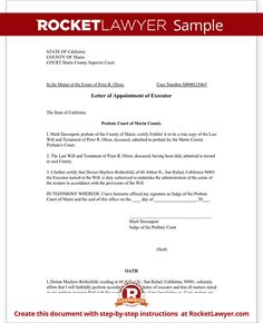 executor letter template instructions