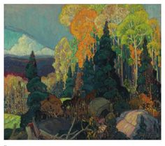 Franklin Carmichael: Autumn Hillside Jigsaw Puzzle (Pomegranate Artpiece Puzzle): Puzzle size: 25 x 20 in. Box size: 10 x 13 x in. Autumn Hillside, by Franklin Carmichael (Canadian, Date, Franklin Carmichael, Tom Thomson, Art Gallery Of Ontario, Group Of Seven, Puzzle Art, Commercial Art, Mountain Paintings, Canadian Artists