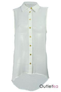 Nowa elegancka koszula w odcieniu białym / jasnym kremowym. Koszula zapinana na guziki w kolorze złotym. Bluzka posiada modny, luźny krój. Materiał typu mgiełka, zwiewny, dopasowujący się do sylwetki. Z przodu jest krótsza, z tyłu dłuższa - asymetryczna. Hit w Wielkiej Brytanii!!!