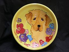 Golden Retriever 10 Ceramic Dog Bowl for Food and Water Personalized at no Charge Signed by Artist Debby Carman >>> Learn more by visiting the image link.(This is an Amazon affiliate link and I receive a commission for the sales)