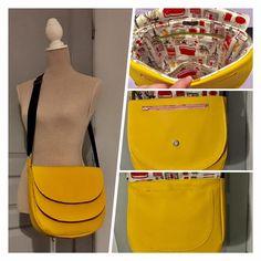 Besace double rabat Musette en simili jaune cousu par Céline - Patron sac Sacôtin