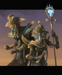 I did some hero explorations for Tomb Kings Heroes - Archan, Queen Khalida, Settra and Khatep. Original concepts are from Games Workshop and Creative Assembly. Warhammer Tomb Kings, Warhammer Art, Warhammer Fantasy, Fantasy Rpg, Dark Fantasy Art, Creative Assembly, Age Of Sigmar, Apocalypse Art, New Gods