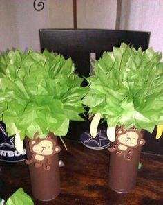 MONKEY PARTY centerpieces mod monkey first birthday party baby shower… Jungle Theme Parties, Jungle Theme Birthday, Safari Party, Baby Birthday, Birthday Ideas, Jungle Party, Safari Theme, Baby Showers, Baby Shower Parties