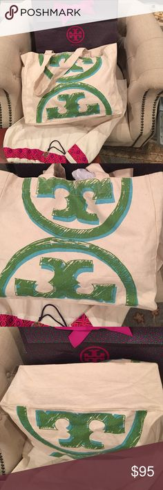 Tory Burch VIP gift Tote NWOT Tory Burch VIP gift Tote, NWOT, it was a gift from the Tory Burch Malibu location store after a big purchase. I used it to carry new clothing home. I have two of these & want to sell this one. It never had tags & has never been sold to the public as far as I know. It is cream canvas with the Tory logo in green & blue on both sides. It has a hard bottom insert or can be rolled up. I will gift wrap in TB envelope as shown w/ dust bag & a smaller dust bag for…