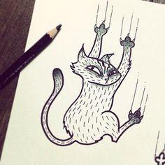 #catdraw by @dirtytommy109 @ #oneoninebarcelona   #dirtytommy #sketch #tattooflash #cartooncharacter