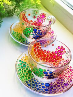 2 Tea Cups and Saucers Set of Multicolored bubbles Tea set shimmer in the sun Hand Painted Rainbow Multi Colored Glass tea cup set colorful color gift Measurements: Cup Height cm / inch About 215 ml / oz Saucer / inch This is a listing for 2 cup and 2 Colored Bubbles, Rainbow Bubbles, Rainbow Glass, Colored Glass, Tea Cup Set, Cup And Saucer Set, Tea Sets, Painted Coffee Mugs, Glass Tea Cups