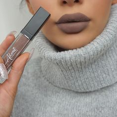"""""""Such a gorgeous brownish-gray color! Totally for winter time❄️ @aboni_cosmetics matte lipstick in shade 'Kiss & tell'  #jglam #j_make_up #abonicosmetics…"""""""