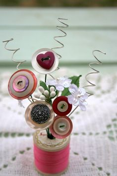 Pink and Pearl Vintage Button Spool Bouquet by MyFancifulNotions