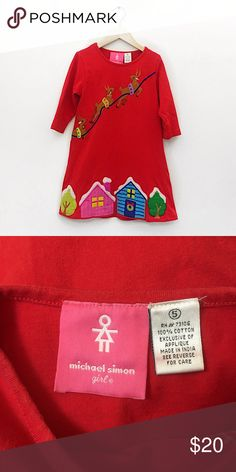 Michael Simon girl Christmas dress size 5 Adorable Christmas Dress by Michael Simon Girl size 5 Measures 13 inches underarm to underarm and 23 inches long Michael Simon Dresses Casual
