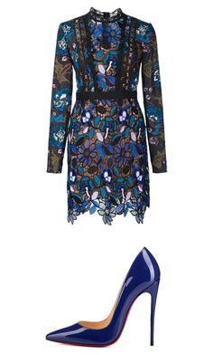 """Blue"" by ognl on Polyvore featuring moda, self-portrait e Christian Louboutin"