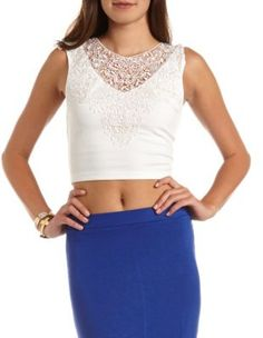 delicate lace panel crop top