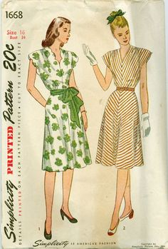 Simplicity 1668 - 1940s Cap-Sleeve Dress with Optional Scallop Neckline – Serendipity Vintage