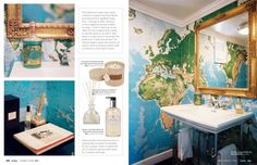 Lonny Magazine - map wallpaper in a bathroom (bought from SkyMall) Bathroom Map Wallpaper, Powder Room Wallpaper, World Map Wallpaper, Cool Wallpaper, Classroom Map, Murals Your Way, Downstairs Toilet, Seaside Style, Map Globe