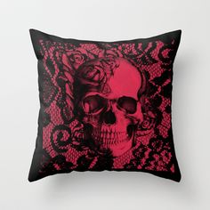 Gothic Lace Skull in red and black. Throw Pillow by Kristy Patterson Design from Society6