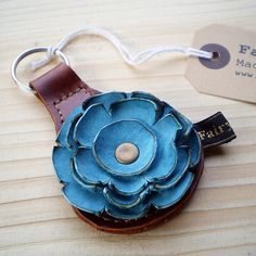 leather flower key ring