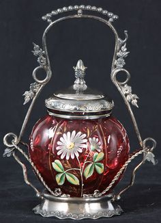 Silver & Cranberry Glass Pickle Castor