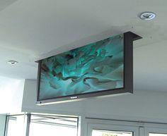– Dropdown-TV-Aufzug Drop Down TV Lift for TV's up to – Heimkino Systemdienste Tv Ceiling Mount, Ceiling Tv, Tv Lift Mechanism, Motorized Tv Lift, Swivel Tv Stand, Tv In Bedroom, Bedrooms, Master Bedroom, Hidden Tv