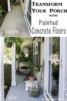 How to Paint A Porch Floor With Concrete Paint - The Honeycomb Home How to update your porch with painted concrete floors that look like wood planks. This is a cheap and easy DIY idea with amazing results! Painted Porch Floors, Painted Concrete Porch, Painted Front Porches, Porch Paint, Porch Flooring, Concrete Lamp, Concrete Patios, Concrete Front Steps, Porch Steps