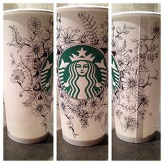 Art by Instagram user erindee0110. #WhiteCupContest Starbucks Coffee Cups, Best Starbucks Drinks, Starbucks Art, Coffee Cup Art, My Coffee, Coffee Painting, Sharpie Art, White Cups, Cup Design
