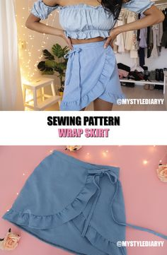 The wrap skirt is great for the summer! You can find this pattern In my Etsy shop so you can learn how to make a wrap skirt for yourself. Diy Clothing, Sewing Clothes, Barbie Clothes, Skirt Patterns Sewing, Skirt Sewing, Coat Patterns, Blouse Patterns, Gown Pattern, Pattern Skirt