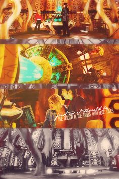 The Doctor in the TARDIS with Rose Tyler.