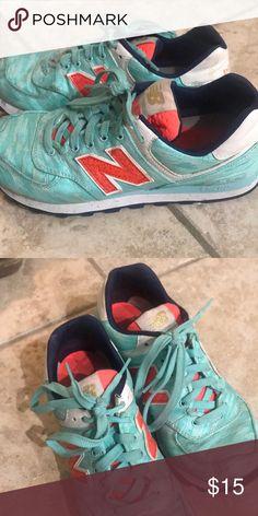 a30a058547 Women s New Balance Women s baby blue and orange new balance 574 New  Balance Shoes Sneakers