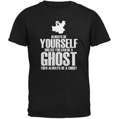 Halloween Always Be Yourself Ghost Charcoal Youth T-Shirt | OldGlory.com