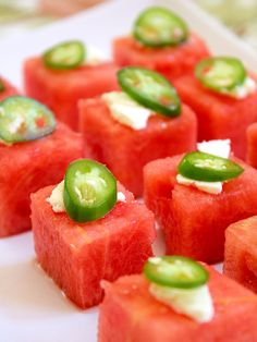 "Watermelon Salad Bites  ~ The combination of cool, sweet watermelon, acidic lime juice, spicy slices of serrano chile, and crumbled salty feta cheese don't immediately strike your guests as a ""salad,"" until they take a bite, and the flavors rearrange and combine into something all new. The combination is startling, cooling, and satisfying. They're inexpensive, perfect for a crowd, and easy to prepare (especially if you start with a seedless watermelon)."