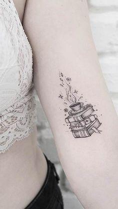 23 Fantastic Tattoo Ideas for Book Lovers - Tatoo - tattoos Small Tattoo Placement, Cool Small Tattoos, Little Tattoos, Great Tattoos, Beautiful Tattoos, Body Art Tattoos, New Tattoos, Sleeve Tattoos, Awesome Tattoos